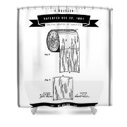 1891 Toilet Paper Roll - Black Retro Style Shower Curtain