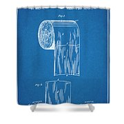 1891 Toilet Paper Roll Blueprint Patent Print Shower Curtain
