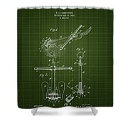 1892 Ships Anchor - Dark Green Blueprint Shower Curtain