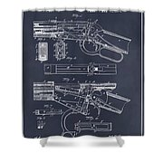 1894 Winchester Lever Action Rifle Blackboard Patent Print Shower Curtain