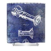 1896 Fire Hose Spray Nozzle Patent Blue Shower Curtain