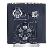 1896 Tesla Alternating Motor Blackboard Patent Print Shower Curtain