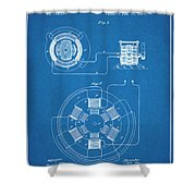 1896 Tesla Alternating Motor Blueprint Patent Print Shower Curtain