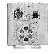 1896 Tesla Alternating Motor Gray Patent Print Shower Curtain