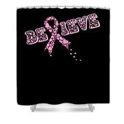 Breast Cancer Awareness Art For Warrior Women Dark Shower Curtain