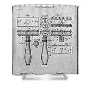 1901 Gillette Safety Razor Gray Patent Print Shower Curtain