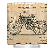 1901 Stratton Motorcycle Antique Paper Patent Print Shower Curtain