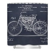 1901 Stratton Motorcycle Blackboard Patent Print Shower Curtain