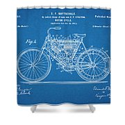 1901 Stratton Motorcycle Blueprint Patent Print Shower Curtain