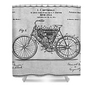 1901 Stratton Motorcycle Gray Patent Print Shower Curtain