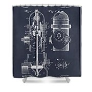 1903 Fire Hydrant Blackboard Patent Print Shower Curtain