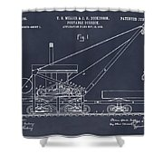 1903 Railroad Derrick Blackboard Patent Print Shower Curtain