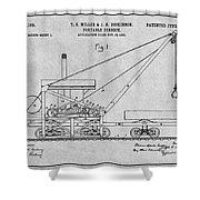 1903 Railroad Derrick Gray Patent Print Shower Curtain
