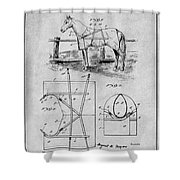 1905 Horse Blanket Patent Print Gray Shower Curtain