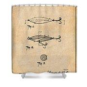 1909 Lockhart Antique Fishing Lure Antique Paper Patent Print Shower Curtain