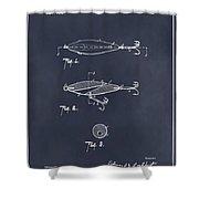 1909 Lockhart Antique Fishing Lure Blackboard Patent Print  Shower Curtain