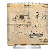 1913 Remington Model 17 Pump Shotgun Antique Paper Patent Print Shower Curtain
