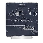 1913 Remington Model 17 Pump Shotgun Blackboard Patent Print Shower Curtain