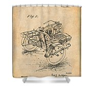 1913 Side Car Attachment For Motorcycle Antique Paper Patent Print Shower Curtain