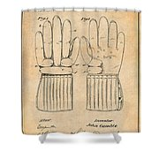 1914 Hockey Gloves Antique Paper Patent Print Shower Curtain