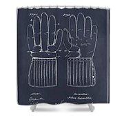 1914 Hockey Gloves Blackboard Patent Print Shower Curtain
