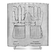 1914 Hockey Gloves Gray Patent Print Shower Curtain