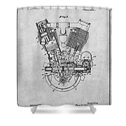 1914 Spacke V Twin Motorcycle Engine Gray Patent Print Shower Curtain