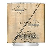 1917 Billiard Pool Cue Antique Paper Patent Print Shower Curtain