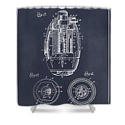 1917 Hand Grenade Blackboard Patent Print Shower Curtain