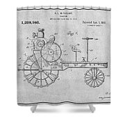 1919 Antique Tractor Gray Patent Print Shower Curtain