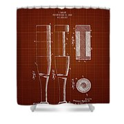 1919 Baseball Bat - Dark Red Blueprint Shower Curtain