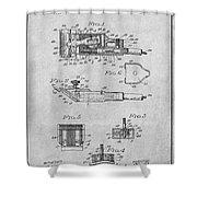 1919 Motor Driven Hair Clipper Gray Patent Print Shower Curtain