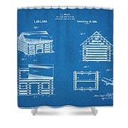 1920 Lincoln Logs Blueprint Patent Print Shower Curtain