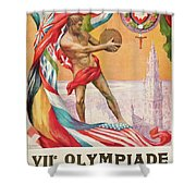 1920 Summer Olympics Vintage Poster Shower Curtain