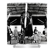 1920s 1930s Group Of Passengers Waiting Shower Curtain