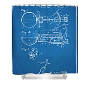 1924 Ice Cream Scoop Blueprint Patent Print Shower Curtain