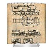 1925 Turbine Driven Locomotive Antique Paper Patent Print  Shower Curtain