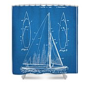 1927 Herreshoff Sail Boat Patent Print Blueprint Shower Curtain
