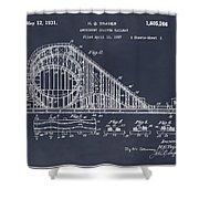 1927 Roller Coaster Blackboard Patent Print Shower Curtain