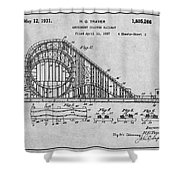 1927 Roller Coaster Gray Patent Print Shower Curtain