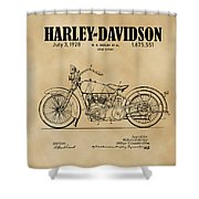 1928 Harley Davidson Motorcyle Patent Illustration Art Print Shower Curtain by David Millenheft