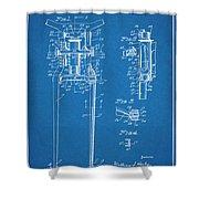 1929 Harley Davidson Front Fork Blueprint Patent Print Shower Curtain