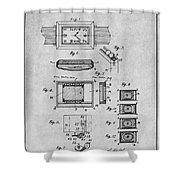 1930 Leon Hatot Self Winding Watch Patent Print Gray Shower Curtain