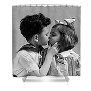 1930s Two Children Young Boy And Girl Shower Curtain