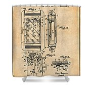 1931 Self Winding Watch Patent Print Antique Paper Shower Curtain