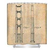 1932 San Francisco Golden Gate Bridge Antique Paper Patent Print Shower Curtain