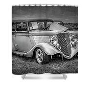 1933 Ford Tudor Sedan With Trailer Shower Curtain