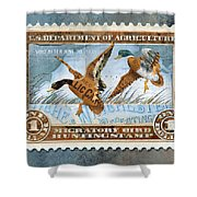 1934 Hunting Stamp Collage Shower Curtain by Clint Hansen