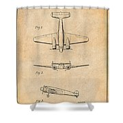 1934 Lockheed Model 10 Electra Airliner Patent Antique Paper Shower Curtain