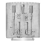 1935 Phillips Screw Driver Gray Patent Print Shower Curtain